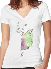 ballerina figure, watercolor illustration Women's Fitted V-Neck T-Shirt