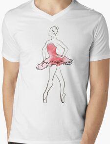 ballerina figure, watercolor illustration Mens V-Neck T-Shirt