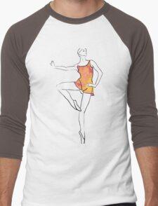 ballerina figure, watercolor illustration Men's Baseball ¾ T-Shirt