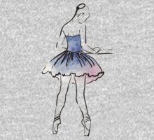 ballerina figure, watercolor illustration One Piece - Long Sleeve