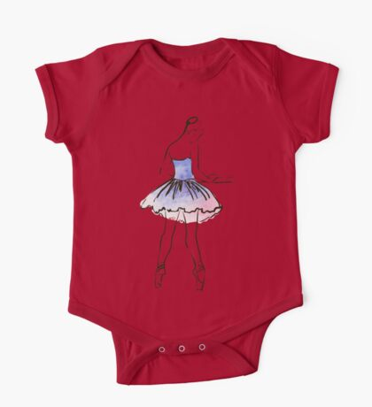 ballerina figure, watercolor illustration One Piece - Short Sleeve