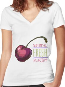 hand drawn vintage illustration of cherry Women's Fitted V-Neck T-Shirt