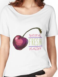 hand drawn vintage illustration of cherry Women's Relaxed Fit T-Shirt