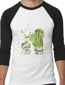 hand drawn vintage illustration of asparagus Men's Baseball ¾ T-Shirt
