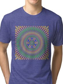 Floral Motif in Pink Green and Blue Tri-blend T-Shirt