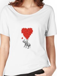 Elephant and red heart balloons Women's Relaxed Fit T-Shirt