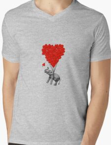 Elephant and red heart balloons Mens V-Neck T-Shirt