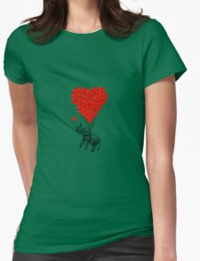 Elephant and red heart balloons Womens Fitted T-Shirt