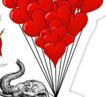 Elephant and red heart balloons Sticker