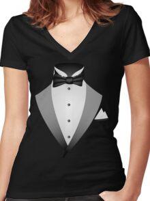 Tuxedo Suit  Women's Fitted V-Neck T-Shirt