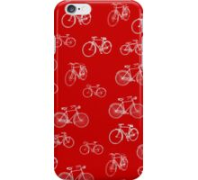 Retro Collection of Bicycles on red iPhone Case/Skin