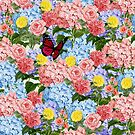 Floral Bouquet with Hydrangeas, Roses and Butterfly by Tee Brain Creative