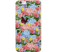 Floral Bouquet with Hydrangeas, Roses and Butterfly iPhone Case/Skin