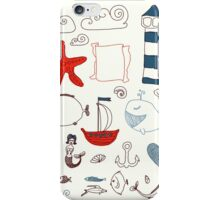 set cute retro sea objects collection. vector illustration iPhone Case/Skin