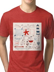 set cute retro sea objects collection. vector illustration Tri-blend T-Shirt