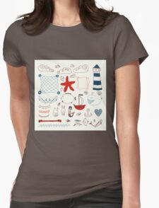 set cute retro sea objects collection. vector illustration Womens Fitted T-Shirt