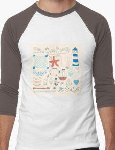 set cute retro sea objects collection. vector illustration Men's Baseball ¾ T-Shirt