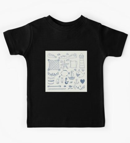 set cute retro sea objects collection. vector illustration Kids Tee