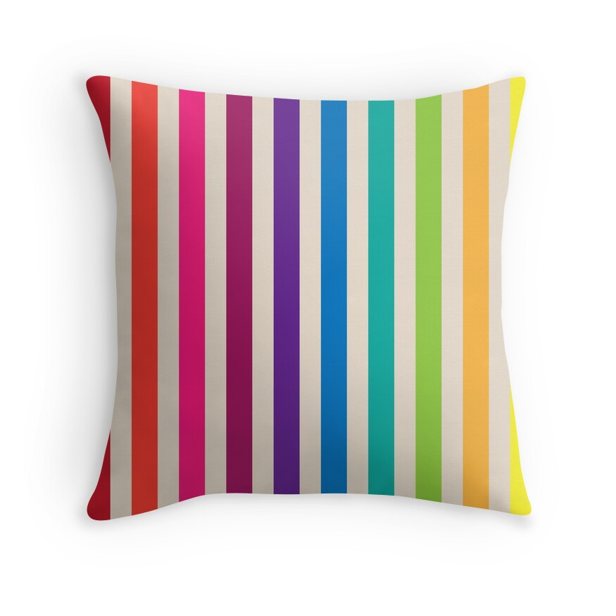 """Multi-Colored Rainbow Candy stripes pattern"" Throw ..."