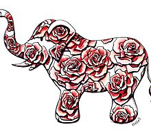 Elephant and Roses by Isobel Von Finklestein