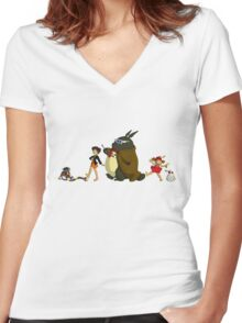 Doctor Totoro Women's Fitted V-Neck T-Shirt