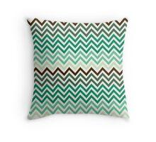 Jungle Forest Green Chevron pattern Throw Pillow