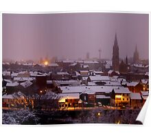Rooftops Of Drogheda In The Snow Poster
