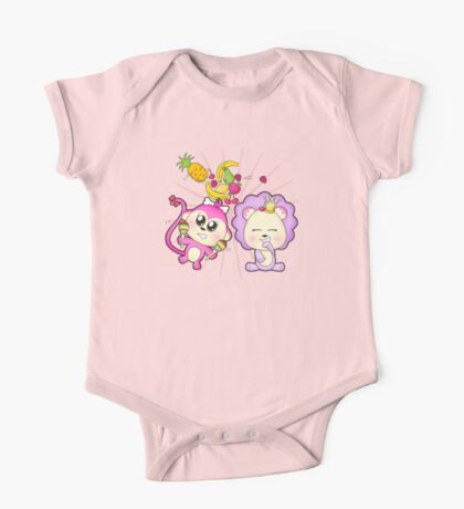 Cute baby zoo animal monkey playing maracas and dancing with lion friend One Piece - Short Sleeve