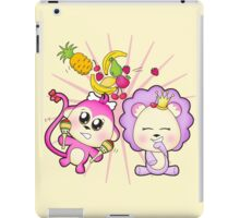 Cute baby zoo animal monkey playing maracas and dancing with lion friend iPad Case/Skin