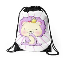 Cute baby animal lion up to mischief Drawstring Bag