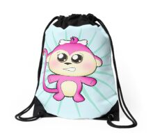 Cute baby zoo animal monkey up to mischief Drawstring Bag