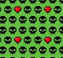 Pixel Skull Zombie Love for Computer Gamers by Tee Brain Creative