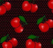 Polka dots and Cherry Pattern in Black by Tee Brain Creative