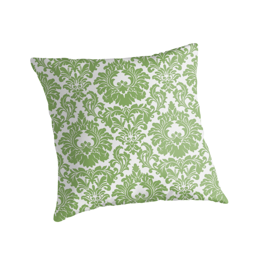 Retro Fleur De Lis Wallpaper Design in Green by Tee Brain Creative