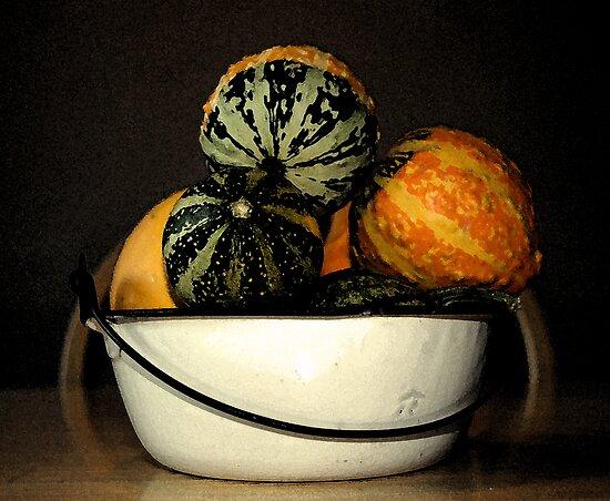 autumn gourds/enamel bowl by Lynne Prestebak