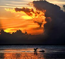 Every day different sunset in Bali, but the same fisherman by mrLEV