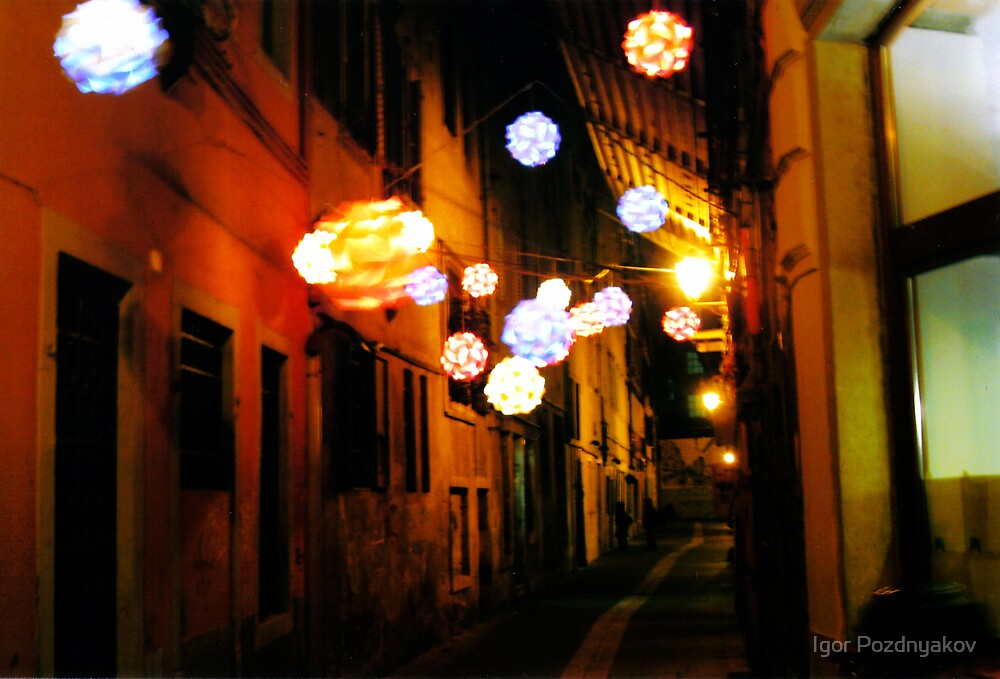 Trieste. A Windy Night in the Old Town. Ball Lanterns, Italy by Igor Pozdnyakov