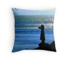 Trieste, Italy - a Statue and a Seagull  Throw Pillow