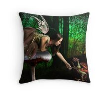 The Fairy and the Dragon  Throw Pillow