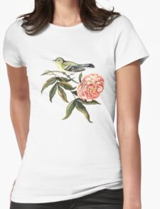 Watercolor bird and flower peony Womens Fitted T-Shirt