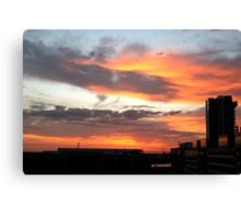 Sunset clouds at Melbourne Docklands Canvas Print