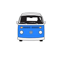 Late Bay VW Camper Mid-Blue Front Photographic Print