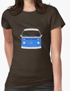 Late Bay VW Camper Mid-Blue Front Womens Fitted T-Shirt