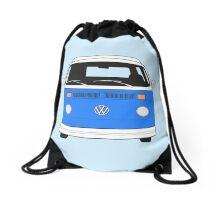 Late Bay VW Camper Mid-Blue Front Drawstring Bag