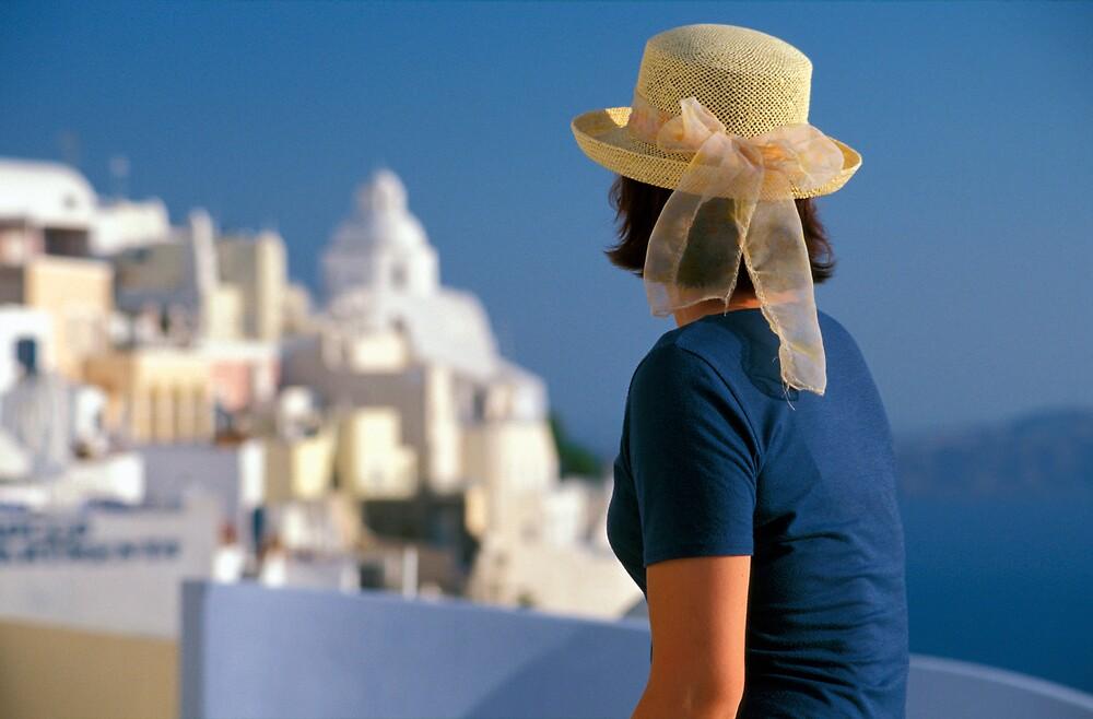 Woman in Hat, Santorini Island (Greece)  by Petr Svarc