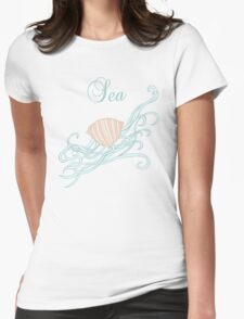 Shell with waves Womens Fitted T-Shirt