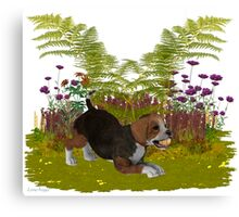 April Puppy .. playing in the garden Canvas Print