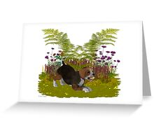 April Puppy .. playing in the garden Greeting Card
