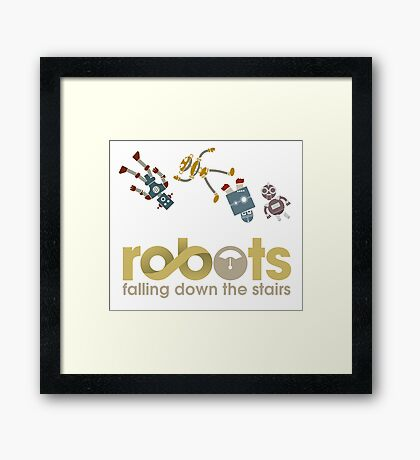 Robots Falling Down the Stairs Framed Print