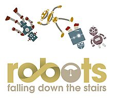 Robots Falling Down the Stairs Photographic Print